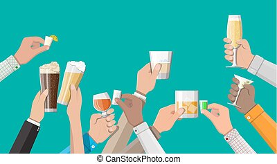 Hands group holding glasses with drinks - Hands group...