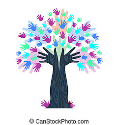Hands Growth Indicates Tree Trunk And Artwork - Hands...