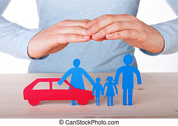 Hands Guarding a Family with their Car, Isolated