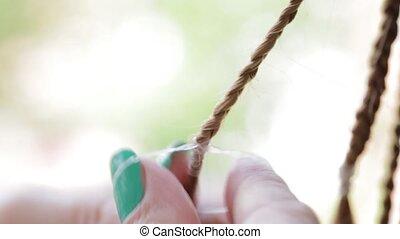 Hands hairdresser braid dreadlocks