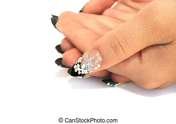 Hands - Hand with nail art isolated on white background.