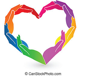Hands heart charity logo vector