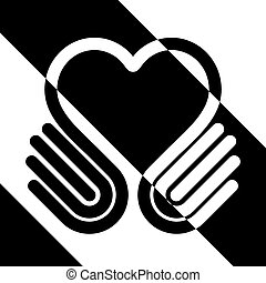 Hands heart on black and white, symbol, vector