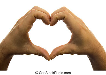 Hands heart shape - Hands in the shape of heart over white...