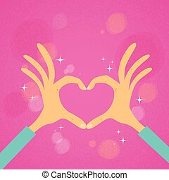 Hands Heart Shape Pink Background