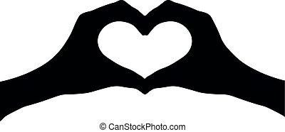 Hands heart silhouette vector