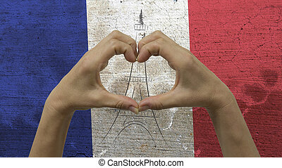 Hands Heart Symbol French Flag - With a stylized French flag...