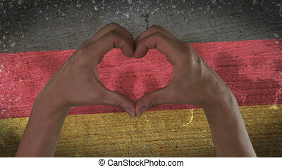 Hands Heart Symbol German Flag - With a stylized German flag...