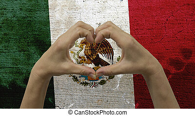 Hands Heart Symbol Mexico Flag - With a stylized Mexican ...