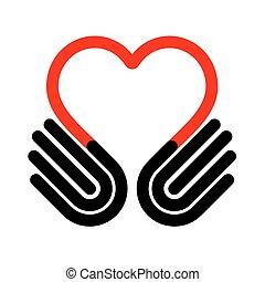 Hands heart symbol, vector