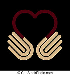 Hands heart, symbol, vector