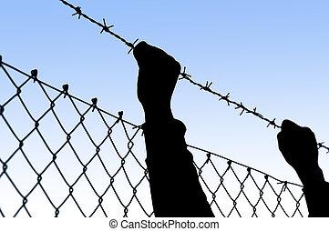hands held behind barbed wire