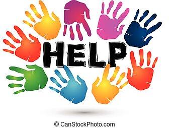 Hands help logo. Voluntary symbol background