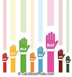 hands help set in color illustration