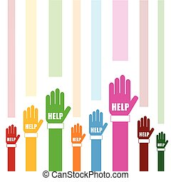 hands help set in color illustration