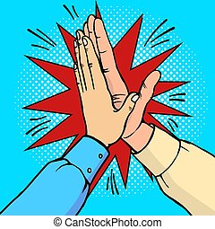 Hands high five pop art vector illustration - Hands high...