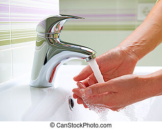hands., higiene, limpeza, lavando