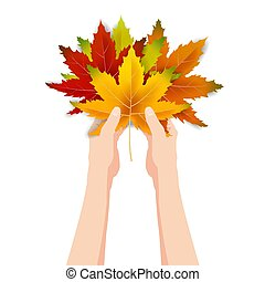 Hands hold autumn colorful leaves bright bouquet fall, floral. Hello Autumn lettering. Vector illustration isolated