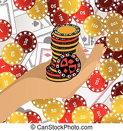 HANDS HOLD chips red and yellow chips high tower casino.