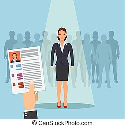 Hands hold CV profile. Pick business people to hire....