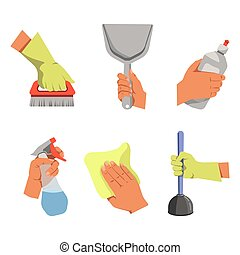 Hands hold different tools for cleaning illustrations set