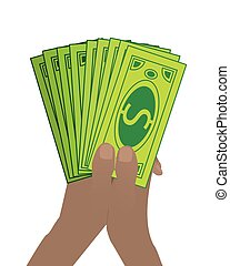 Hands HOLD dollar paper. on a white background