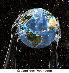 Hands Hold Earth in Space