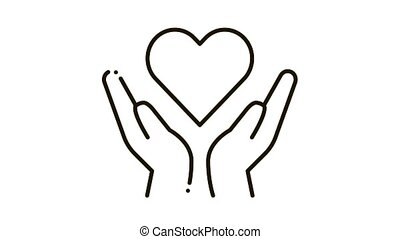 Hands Hold Heart Icon Animation. black Hands Hold Heart animated icon on white background