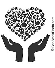the symbol of human hands holding Heart shape of Paw