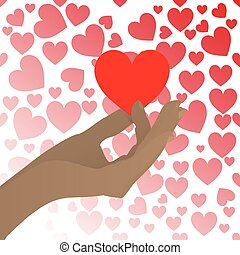 HANDS HOLD IN THE BACKGROUND OF HEART