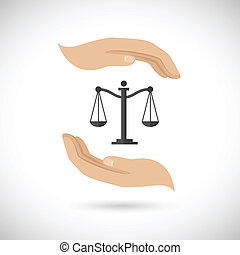 Hands hold law scales - Hands hold and protect scales of...