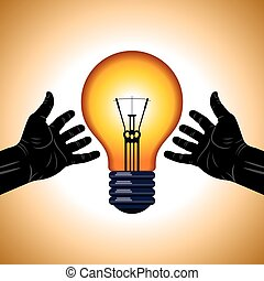 hands hold light bulb concept