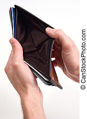 empty wallet - hands hold out an dempty wallet