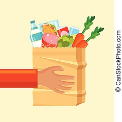 Hands hold paper bag with food. Vector flat cartoon...