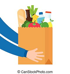 Paper bag full of products, grocery delivery service concept.
