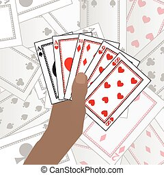 Hands HOLD poker cards. On a card table background