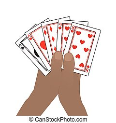 Hands HOLD poker cards. on a white background