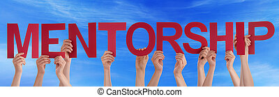 Hands Hold Red Straight Word Mentorship Blue Sky - Many...