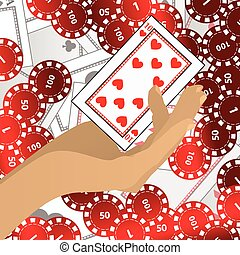 HANDS HOLD tokens red and one casino card