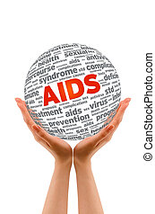 Hands holding a Aids 3D Sphere