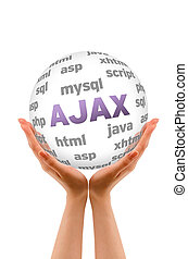 Ajax - Hands holding a Ajax word Sphere on white background.