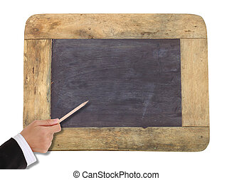 Hands holding a blank blackboard