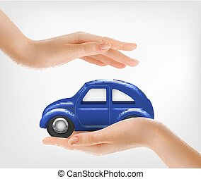 Hands, holding a blue model car. Vector.