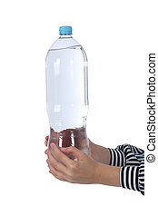 Hands holding a bottle of mineral water.