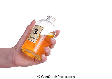 Hands holding a Bottle of poison.