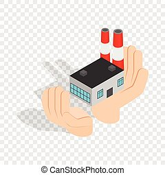 Hands holding a chemical plant isometric icon
