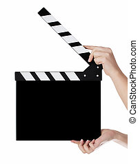 Hands holding a clapper board in white background