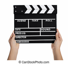 Hands holding a clapper board