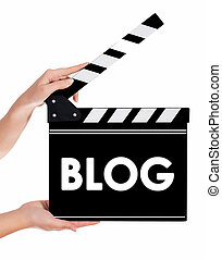 Hands holding a clapper board with BLOG text