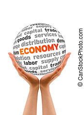 Economy - Hands holding a Economy Sphere sign on white...